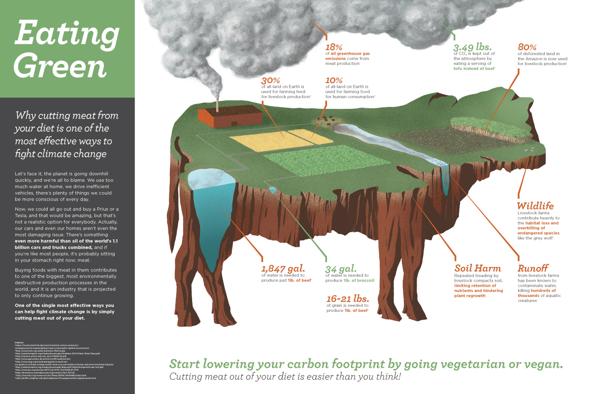 Eating Green: an infographic on vegetarianism, veganism, environmentalism, and the livestock industry