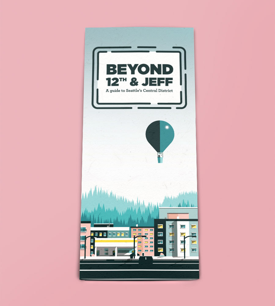 Beyond 12th and Jeff, an illustrated brochure designed for Seattle University's SGSU