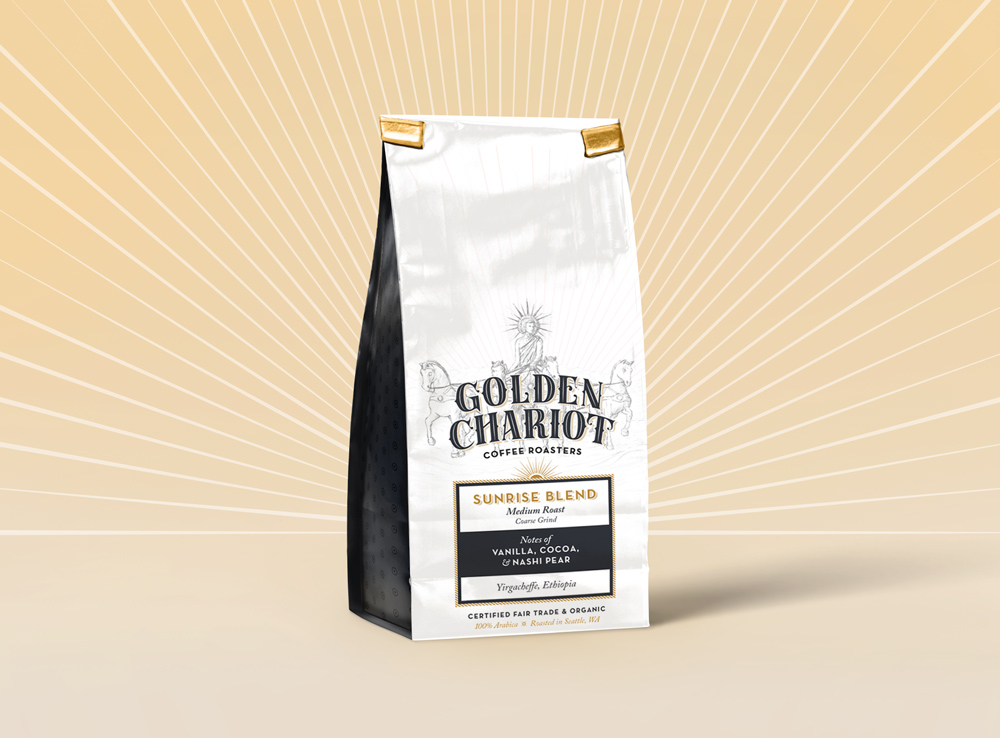 Golden Chariot Coffee Roasters Branding and Packaging